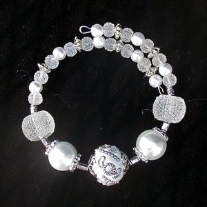 White and Silver Wedding Bracelet